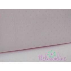 Tela de pique de Canutillo rosa con topo rosa