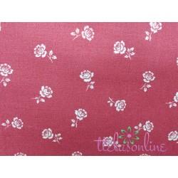 Tela algodón americano rojo inglés con flores crema