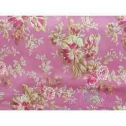 Tela algodón americano con flores fondo teja