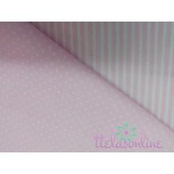 Tela de  algodón con topitos en rosa bebe