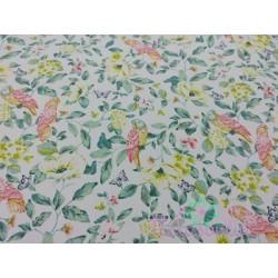 Tela de  algodón flores y pajaros