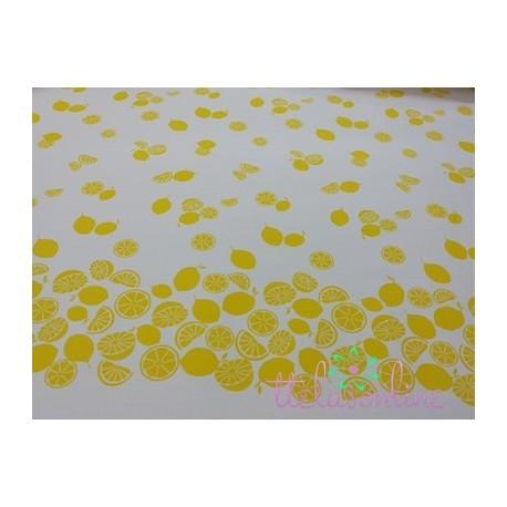 Pique de canutillo  estampado con limones