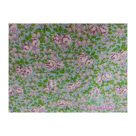 Tela algodón tipo liberty rosa y verde