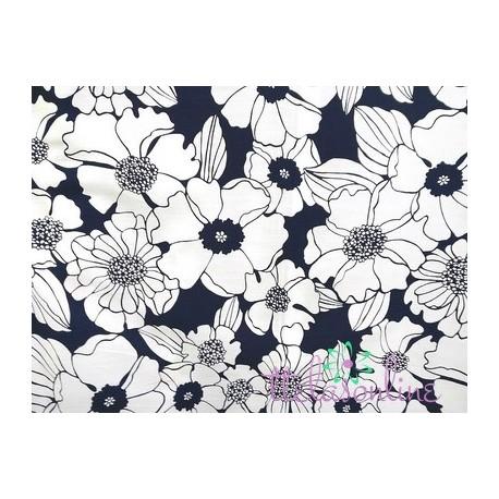 Tela de  algodón con flores en marino