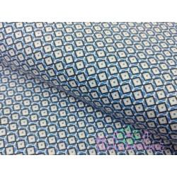 Tela de  algodón dibujo geométrico en azulina