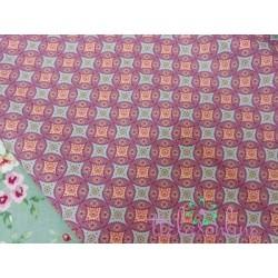 Tela de  algodón dibujo geométrico en morado y verde agua
