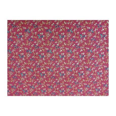 Tela de  algodón miniflores rojo Navidad