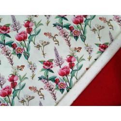 Combinación algodón flores rojas