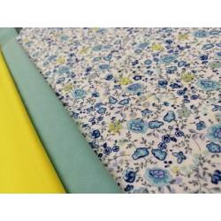 Combinación algodón florecitas en azules