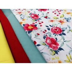 Combinación algodón flores en rojo