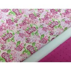 Combinación algodon hortensias rosa
