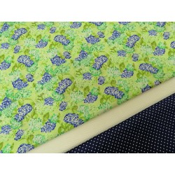 Combinación algodon hortensias azules