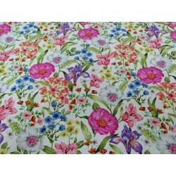 Tela de  algodón flores rosa malva