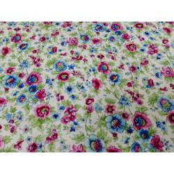 Tela de  algodón flores rosa turquesa