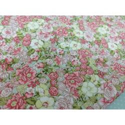 Algodón estampado verdes y rosas
