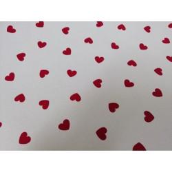 Raso de Algodón corazones rojo fresa