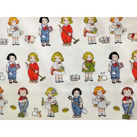 Tela de algodón con paper dolls