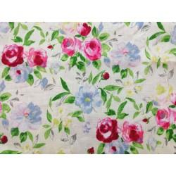 Lino con estampado de flores en rosa y verde