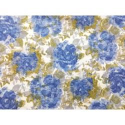 Viyela estampada con  flores Nora azul