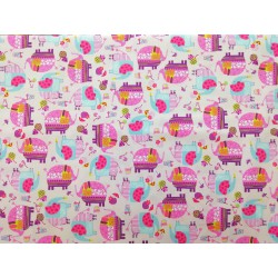 Algodón con elefantes, fondo rosa