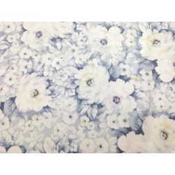 Raso de Algodón estampado flores grandes gris azulado