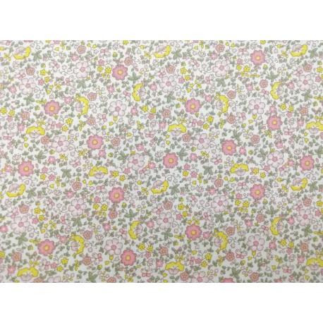 Algodón mini flores rosa y amarillo