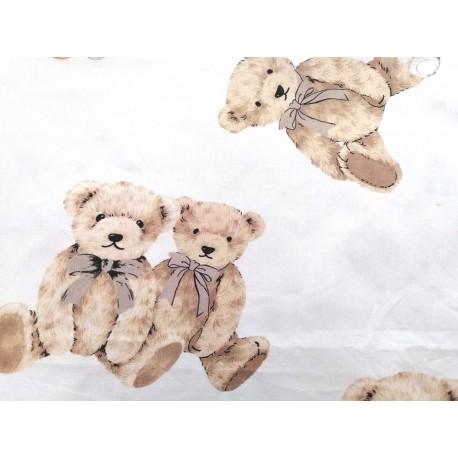Tela de  algodón  osos en tostado