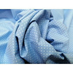 Tela algodón  celeste  minitopito  blanco