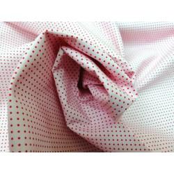 Tela algodón  rosado con minitopo rojo