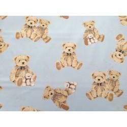 Tela de  algodón  osos en celeste