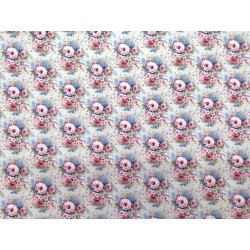 Tela de  algodón  estampado floral pequeño, fondo tono lino
