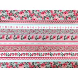 Tela de  algodón estampado flores y rayas rosa