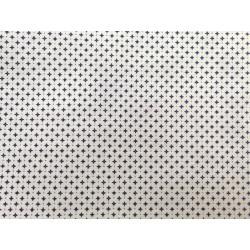 Tela de  algodón dibujo geométrico en blanco y azul
