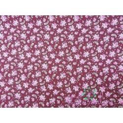 Viyela estampada con cachemires y flores en burdeos